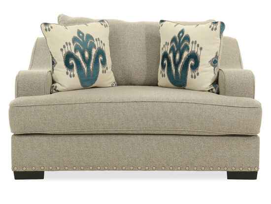 """Nailhead-Trimmed Traditional 62"""" Chair and a Half in Beige"""