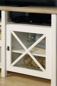 Two X-Door Transitional Entertainment Credenza in White