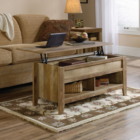 Rectangular Lift-Top Contemporary Coffee Table in Craftsman Oak