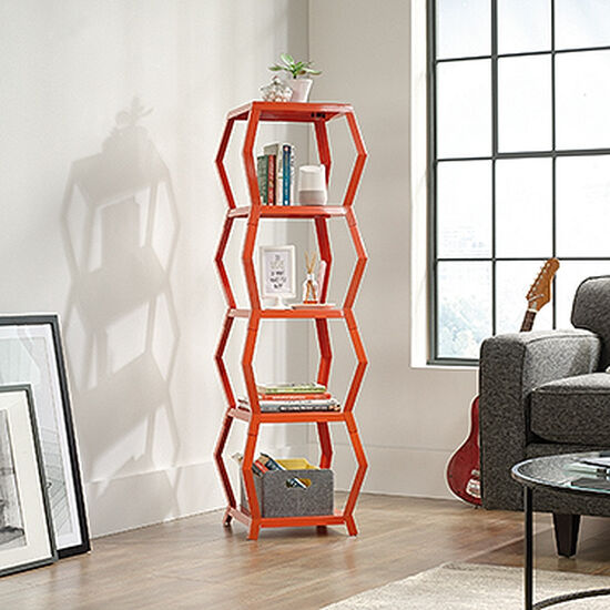 Four-Shelf Modern Tower Etagere in Orange Blush