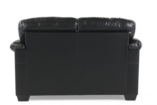 """Contemporary Leather 63"""" Loveseat in Black"""