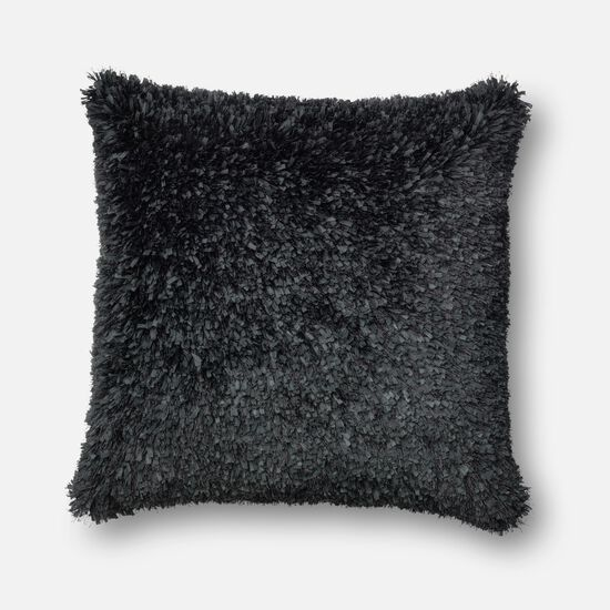 """Contemporary 22""""x22"""" Cover w/Down Pillow in Black"""