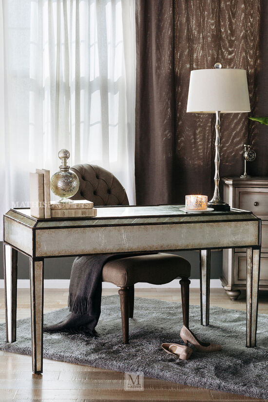 """50"""" Glam Mirrored Writing Desk in Silver"""