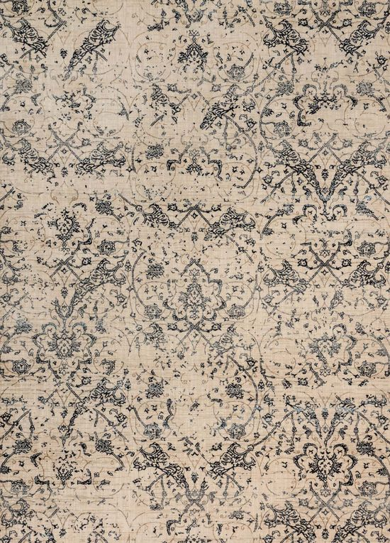 """Contemporary 1'-6""""x1'-6"""" Square Rug in Ivory/Ink"""
