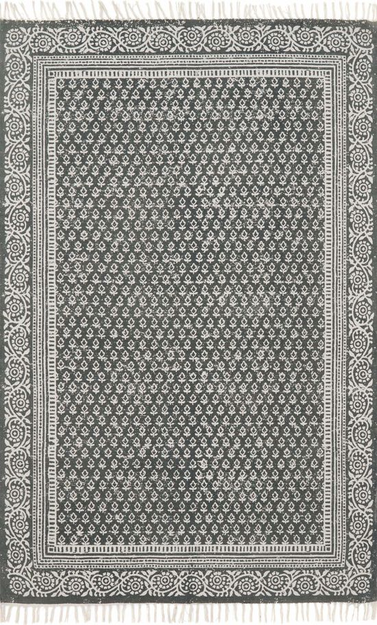 """Transitional 1'-6""""x1'-6"""" Square Rug in Charcoal"""