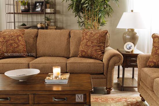"Corduroy Casual 88"" Sofa in Nut-Brown"