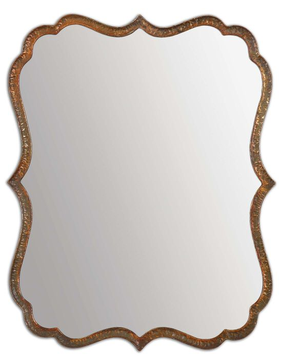30'' Curved Frame Accent Mirror in Oxidized Copper
