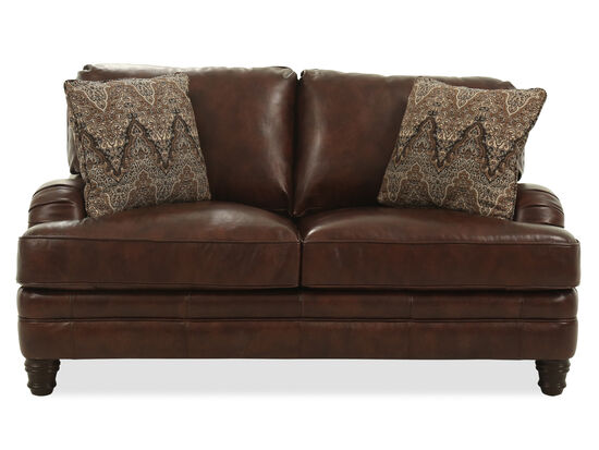 """Casual Leather 69.5"""" Loveseat in Brown"""