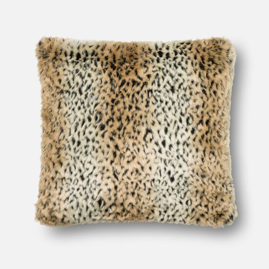 """Transitional 22""""x22"""" Pillow Cover Only in Tan/Black"""