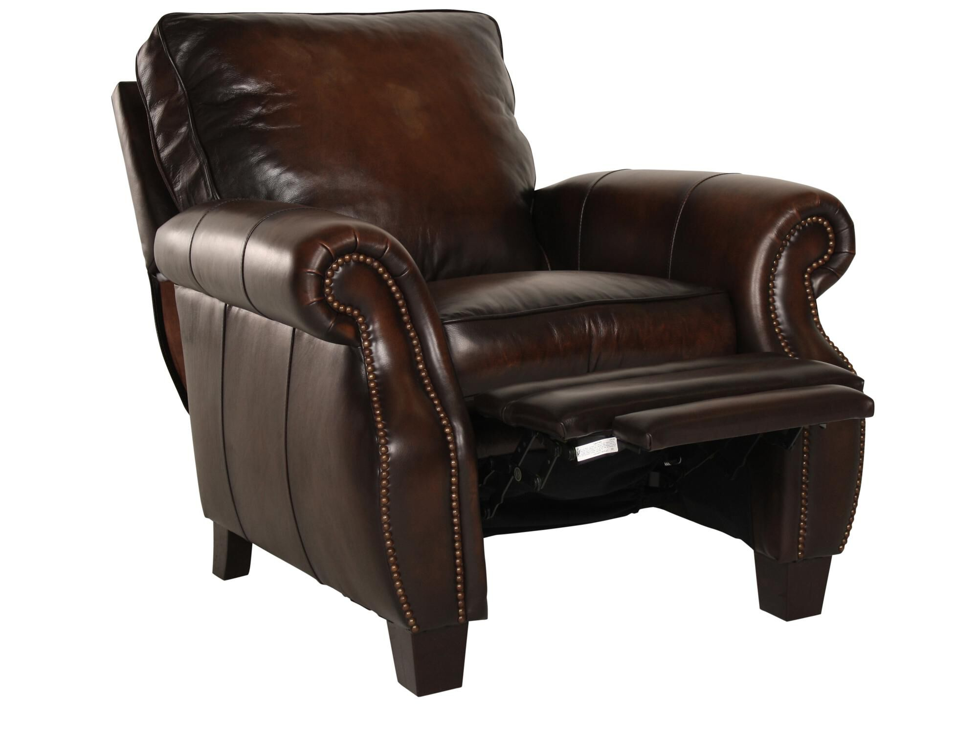 Leather Nailhead Accented 37.5u0026quot; Reclineru0026nbsp ...