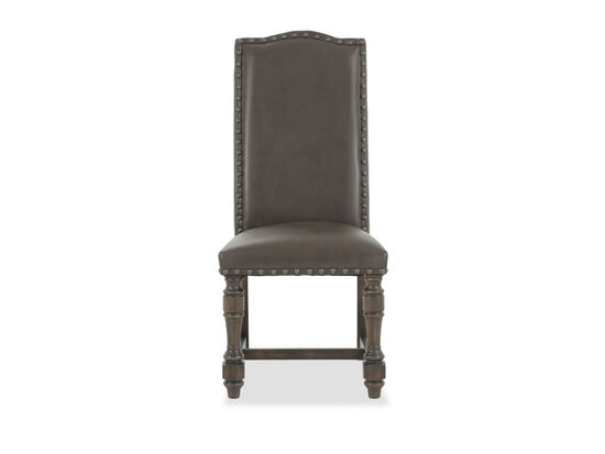 "Contemporary 42.5"" Nailhead-Accented Side Chair in Brown"