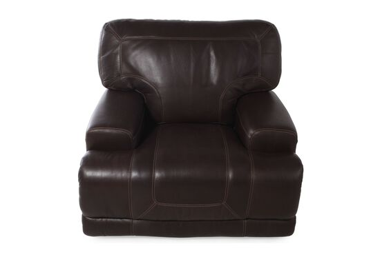 Casual Leather Power Recliner in Dark Walnut