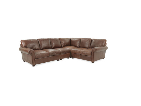 Four-Piece Leather Sectional in Brown