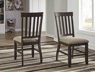 "Contemporary Pair of 18.5"" Upholstered Side Dining Chairs in Dark Brown"