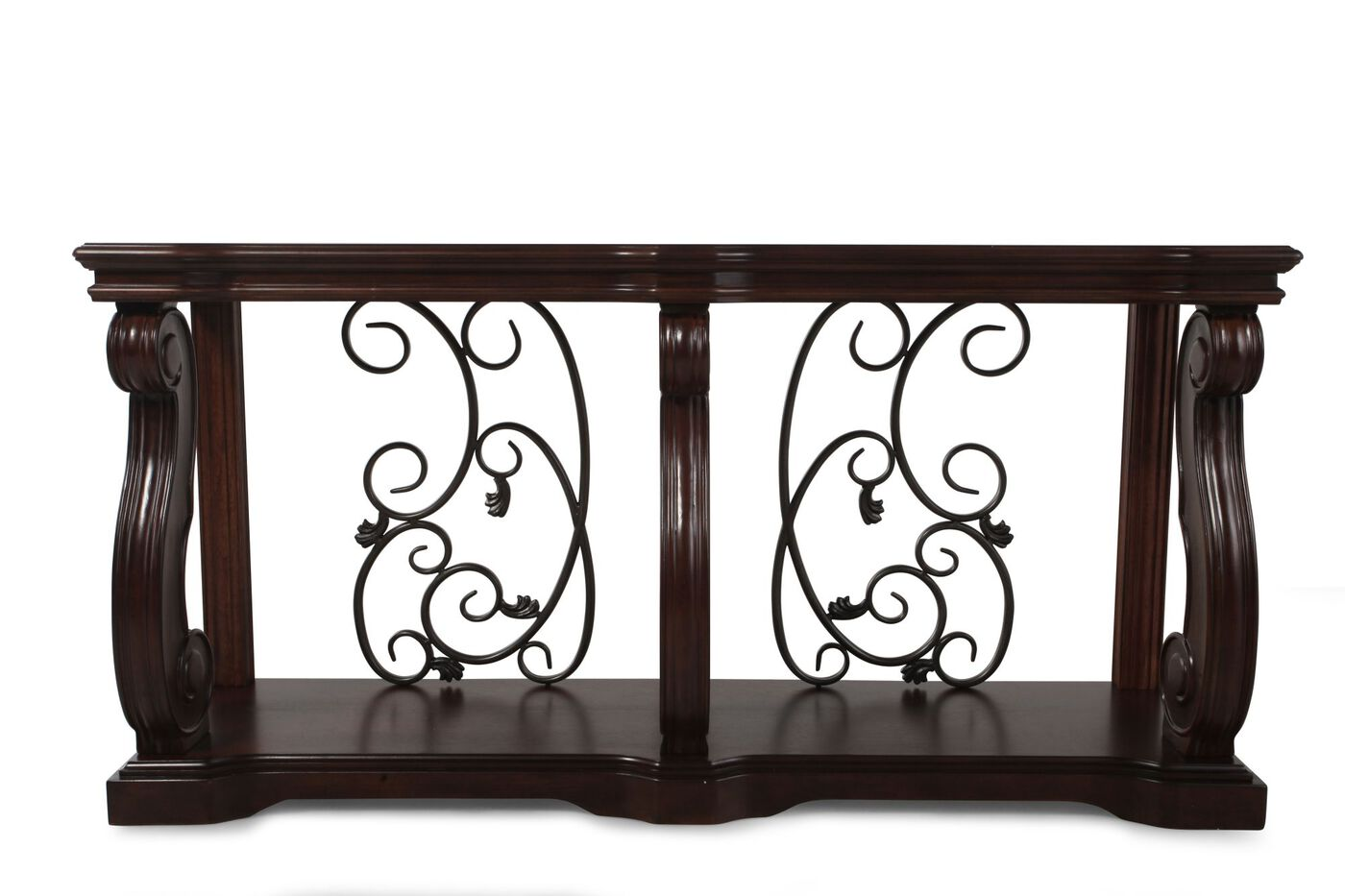 Scrolled traditional console table in walnut brown for Sofa table restaurant