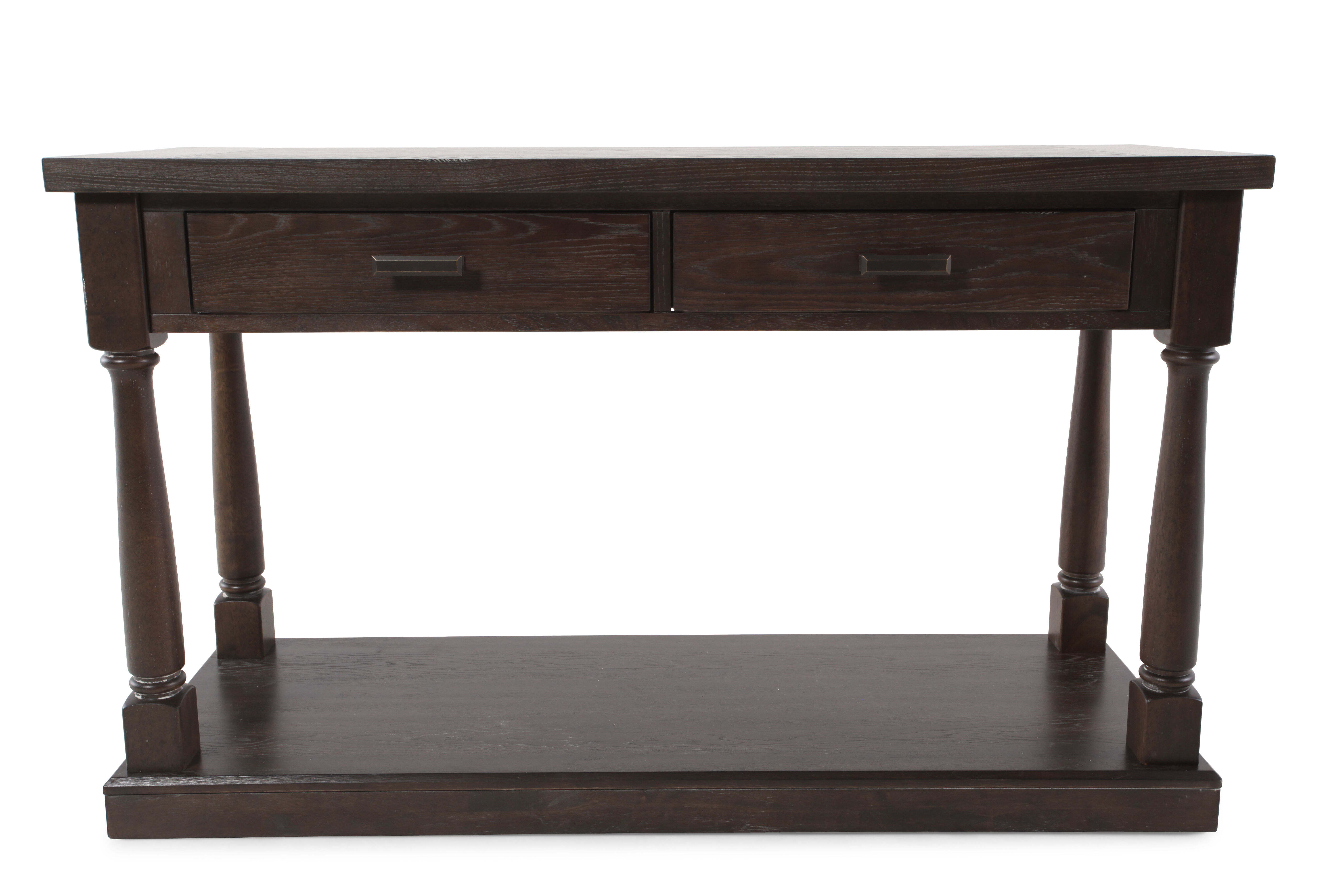 Turned Pedestals Contemporary Sofa Table In Dark Espresso