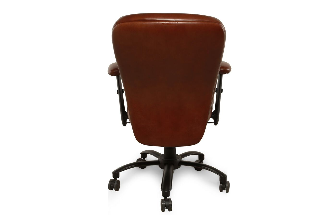 leather ergonomic swivel tilt desk chair in brown mathis brothers