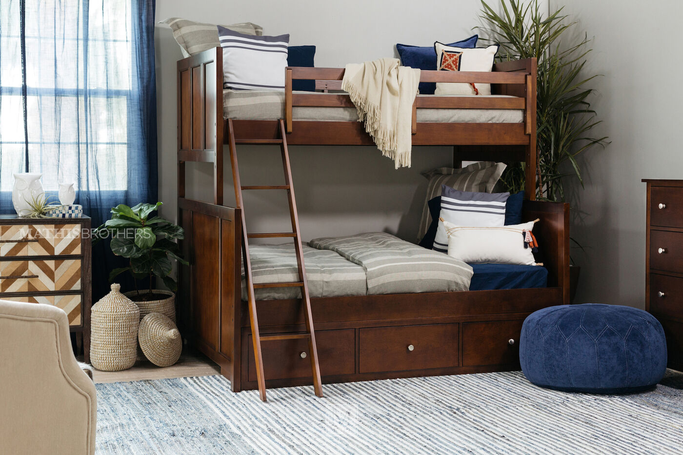 casual sharp mission style bedroom furniture interior. Casual Youth Twin Over Full Storage Panel Bed In Cherry Sharp Mission Style Bedroom Furniture Interior