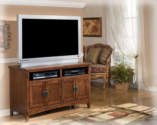 Four-Door Casual TV Stand in Medium Brown Oak