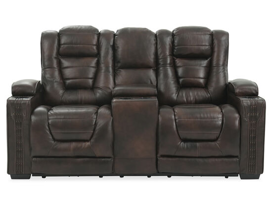 "Power Reclining Leather 74"" Loveseat in Brown"