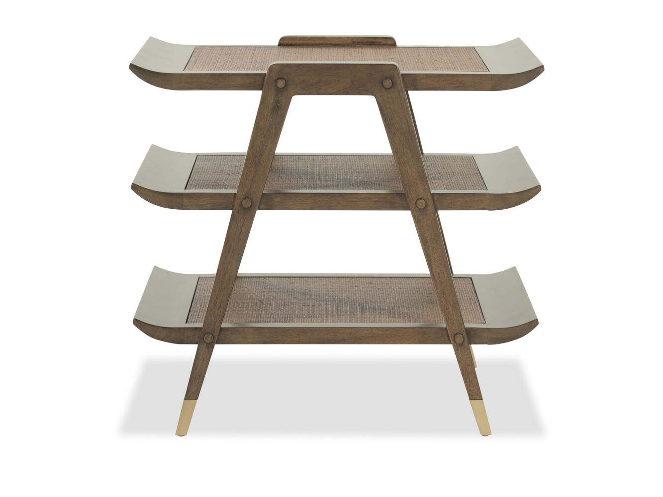 Mid Century Modern Three Tier End Table In Walnut Mathis Brothers Furniture