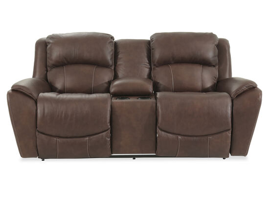 "Dual Power Reclining Casual 79.5"" Loveseat with Console in Brown"