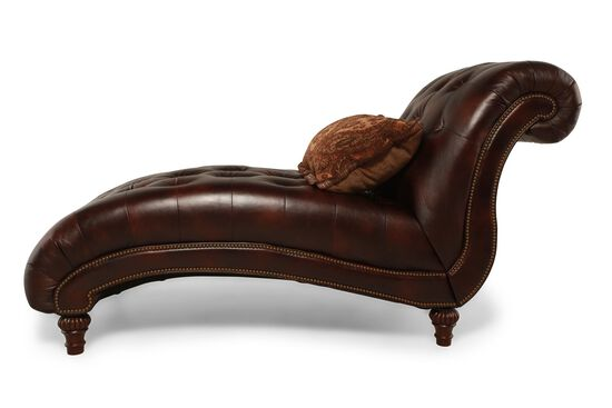 Button tufted traditional curved chaise in chestnut for Button tufted chaise settee green