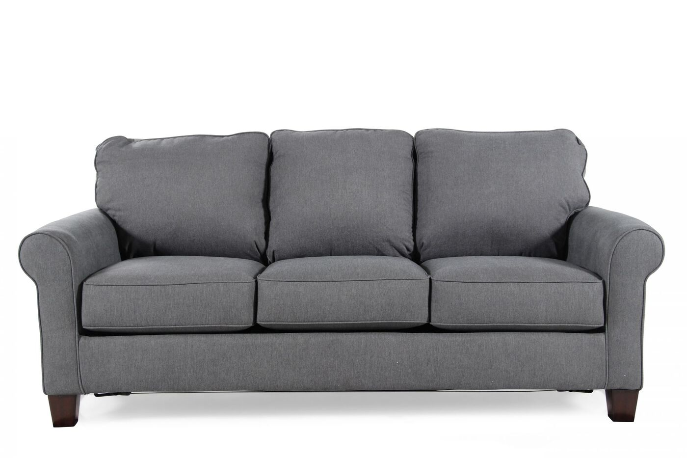 contemporary queen sleeper sofa in denim blue mathis brothers furniture. Black Bedroom Furniture Sets. Home Design Ideas