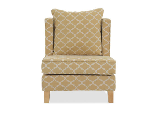 "Trellis-Patterned Casual 31"" Accent Chair in Mustard"