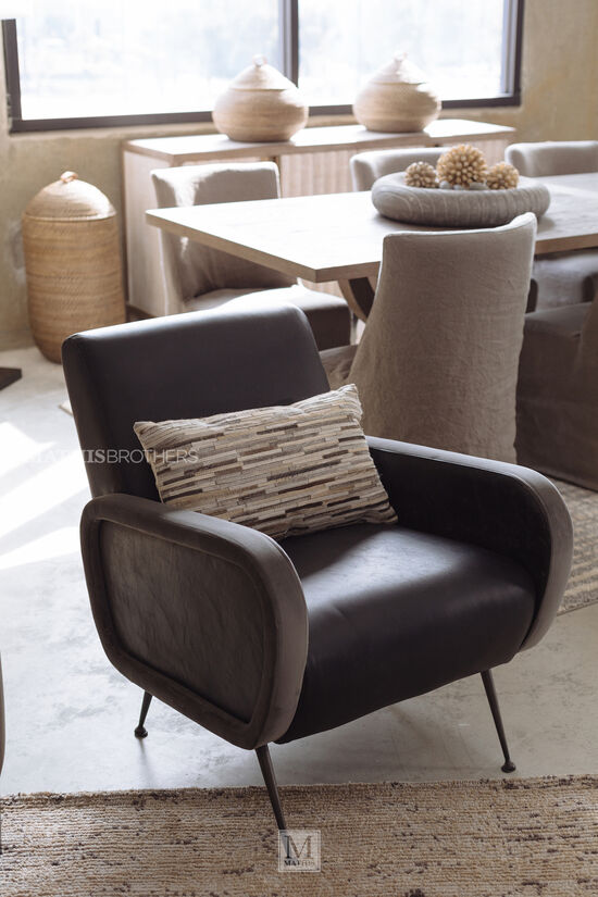 Cushioned Arm Chair in Brown