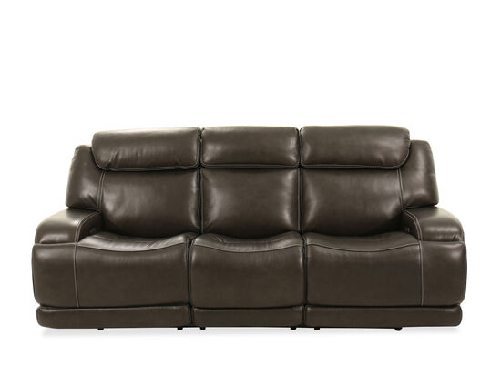Leather Power Reclining Headrest Sofa in Pewter