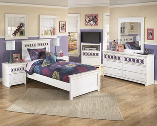 Lattice Accented Two-Drawer Youth Nightstand in White