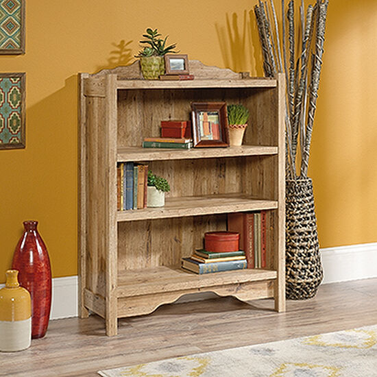 Contemporary Adjustable Shelf Open Bookcase in Antigua Chestnut