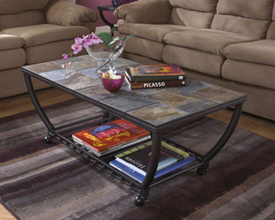 Tile-Insert Traditional Cocktail Table in Gunmetal