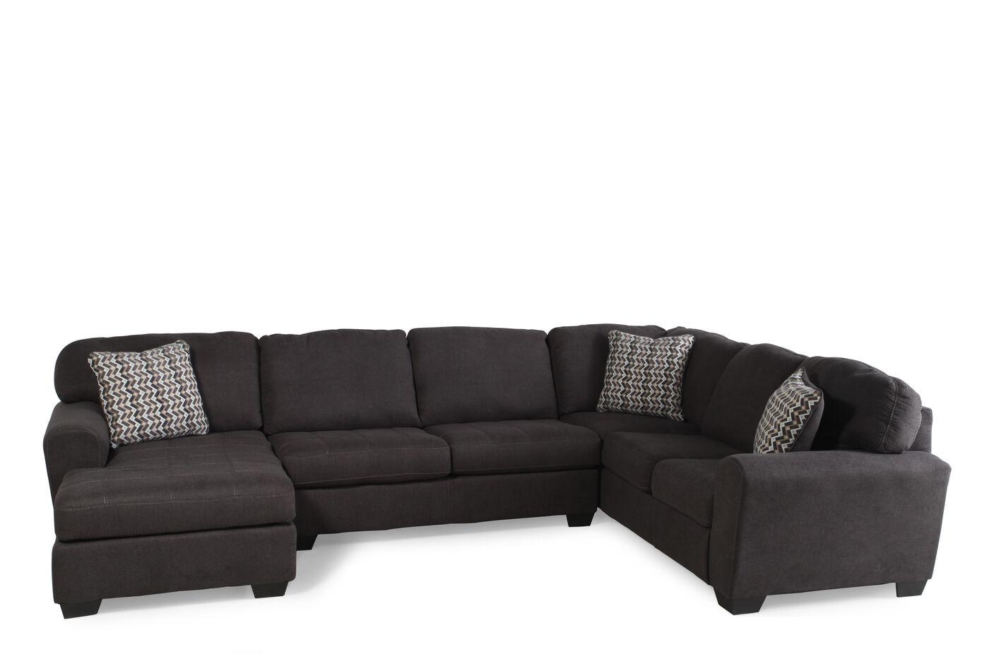 Three piece microfiber 145quot sectional in dark slate for 3 piece microfiber recliner sectional sofa