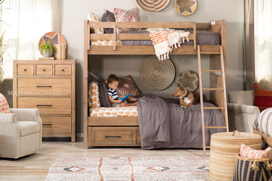 Traditional Twin Bunk Bed with Ladder in Brown