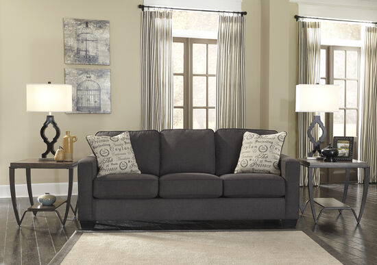 "Low-Profile Casual 84"" Sofa in Charcoal"