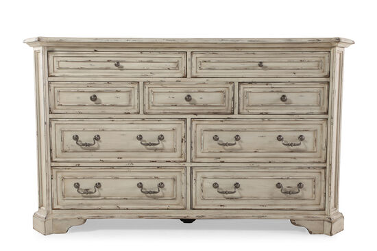 "40"" Hand Distressed Dresser in Antique White"