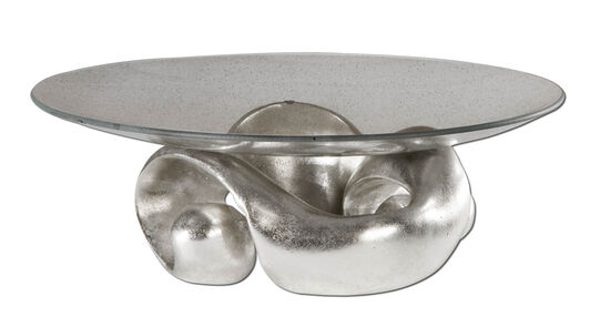 Entwined Leaf and Glass Bowl in Silver