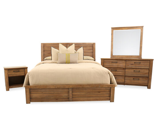 Four-Piece Distressed King Bedroom Set in Weathered Brown