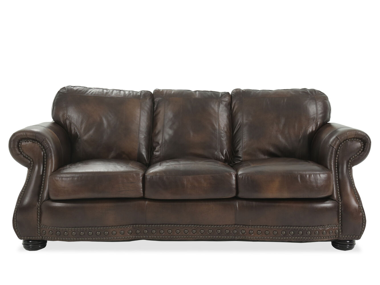 Traditional Leather 88 Quot Sofa In Brown Mathis Brothers