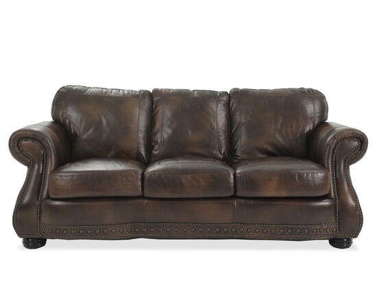 "Traditional Leather 88"" Sofa in Brown"