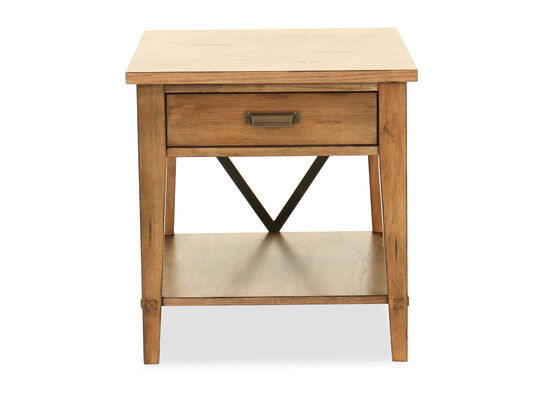 Contemporary One-Drawer End Table in Dark Brown