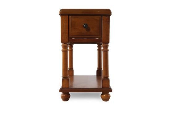 One-Drawer Traditional Chairside Accent End Table in Rustic Brown