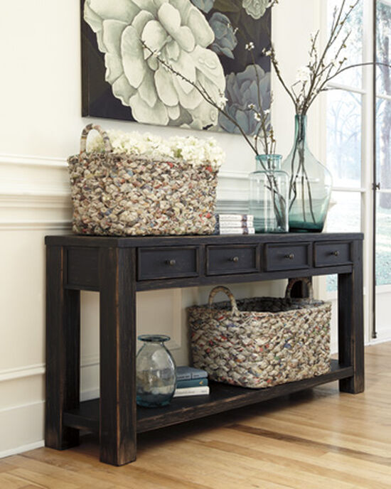 Four-Drawer Casual Sofa Table in Weathered Black