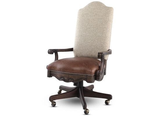 Leather Nailhead Trimmed Swivel Tilt Chairin Distressed Pecan