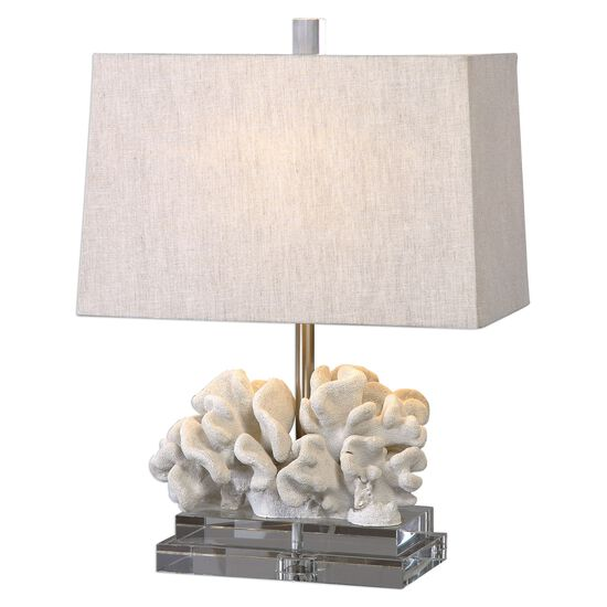 Crystal-Accented Coral-Sculptured Table Lamp in Ivory