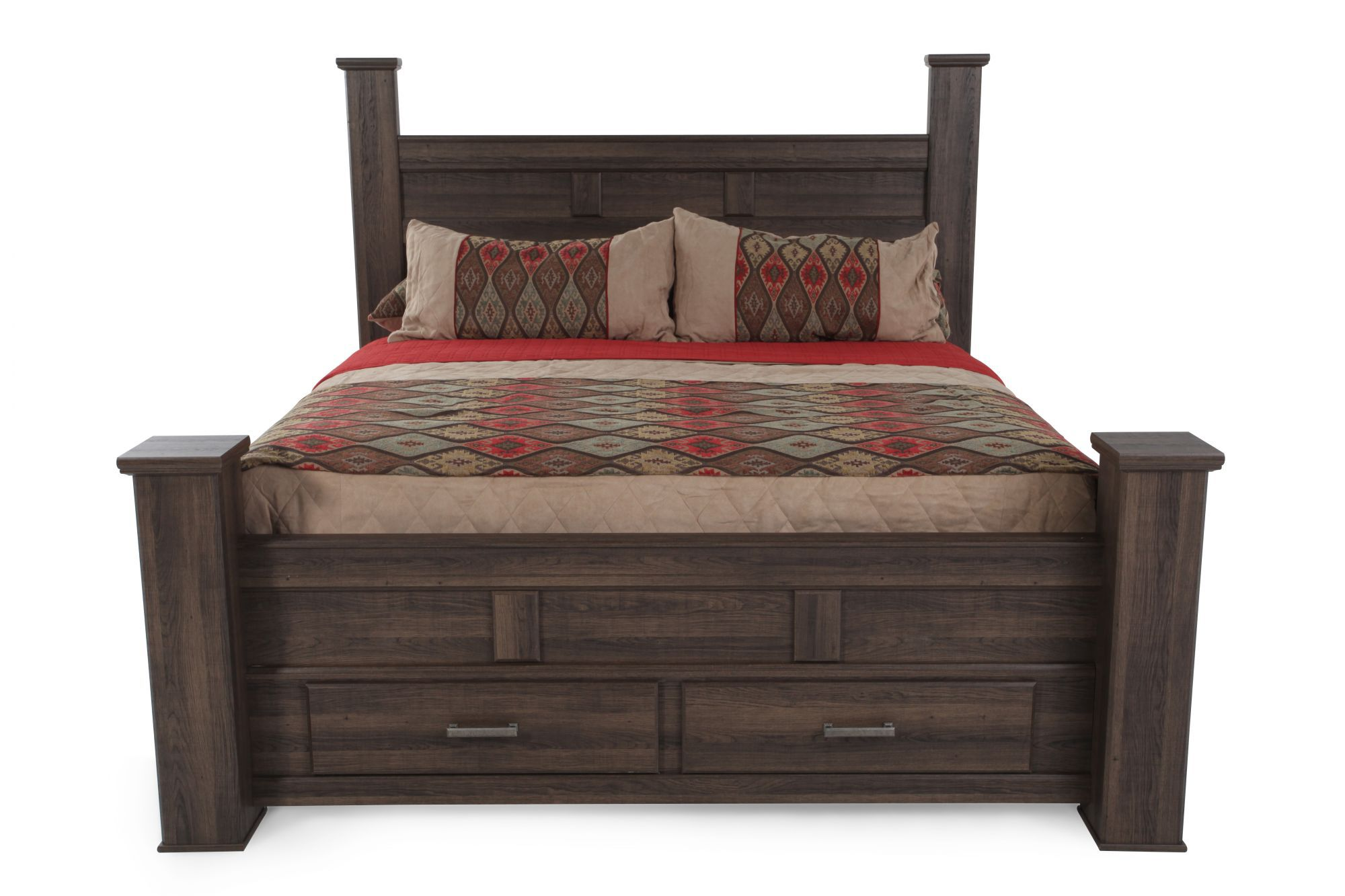 68u0026quot; Planked Two Drawer Storage Bed In Aged Brown