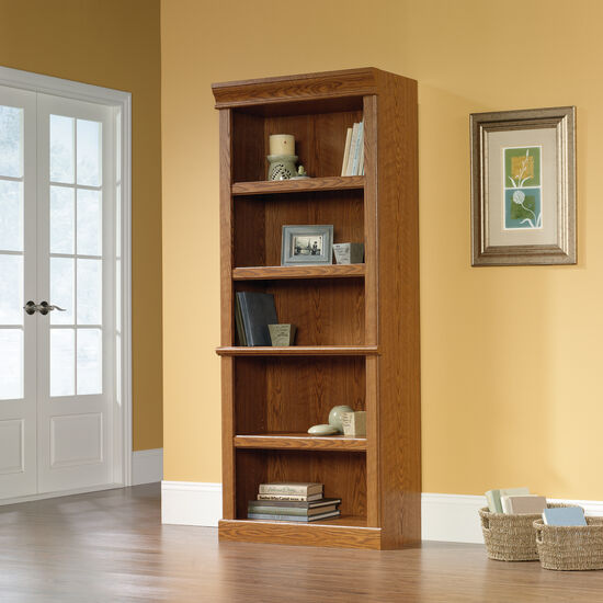Traditional Adjustable Shelf Open Library in Carolina Oak