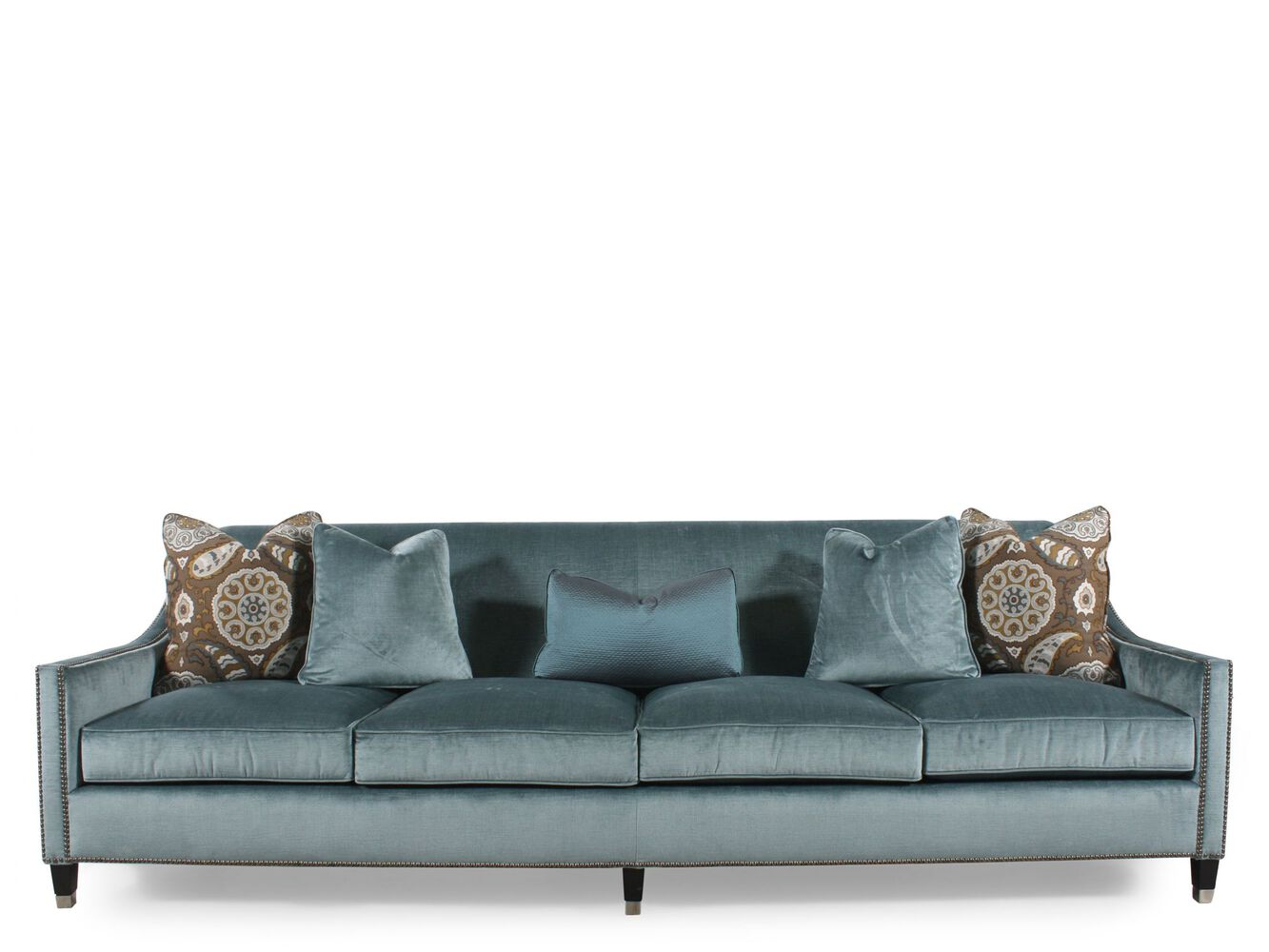 Modern nailhead accented 108 sofa in blue mathis brothers furniture for Bernhardt living room furniture